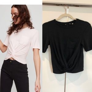 Aritzia Wilfred subah twist front crop tee black